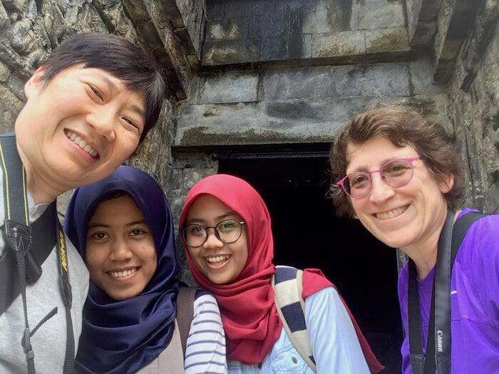 Sekar and Hani with Sue and Reggie at Mendut Temple, Borobudur Indonesia
