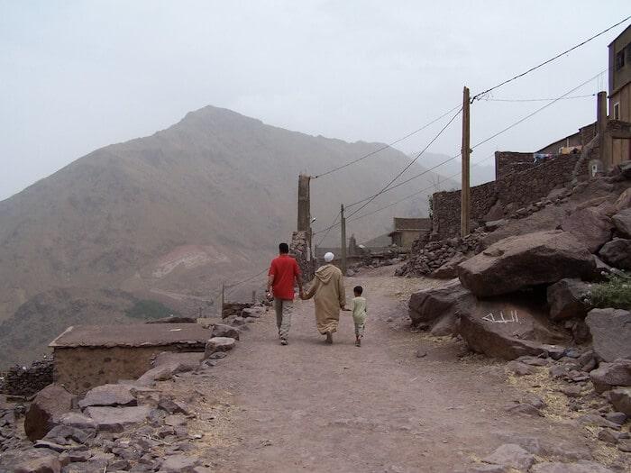 Atlas Mountains 3 generations of men on a walk