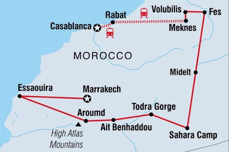 Morocco Trip Map