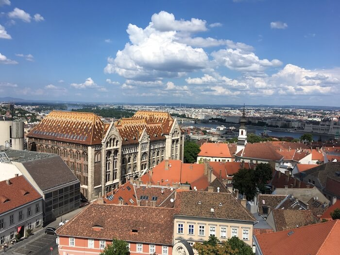 View from the top of Buda Tower. Magdalena Church Bell Tower. Best of Budapest 4 Day Itinerary