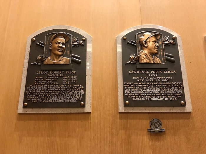 Satchell Paige and Yogi Berra Plaques. Cooperstown Baseball Hall of Fame