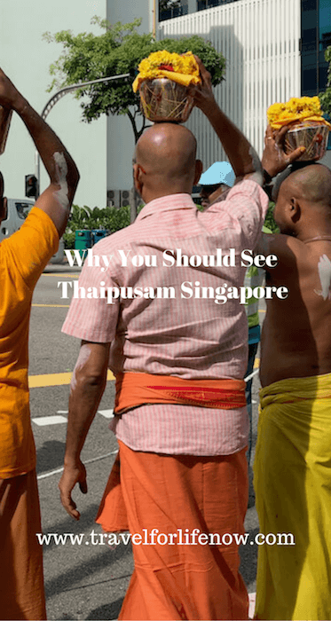 Thaispusam Singapore is a Hindu Ceremony. Devotees carry milk pots on their heads. Many carry kavadis and pierce themselves as an offering to the Lord Muruga. See for yourself and learn more about this religious ceremony. #travelforlifenow #visitsingapore #thaipusamsingapore